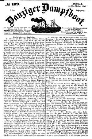 Danziger Dampfboot für Geist, Humor, Satire, Poesie, Welt- und Volksleben, Korrespondenz, Kunst, Literatur und Theater vom 22.10.1851