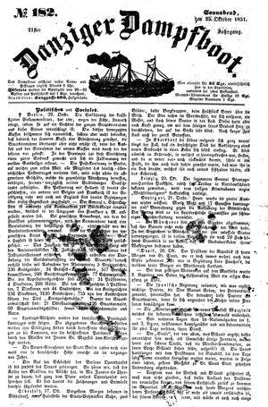Danziger Dampfboot für Geist, Humor, Satire, Poesie, Welt- und Volksleben, Korrespondenz, Kunst, Literatur und Theater vom 25.10.1851