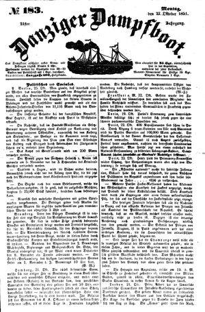 Danziger Dampfboot für Geist, Humor, Satire, Poesie, Welt- und Volksleben, Korrespondenz, Kunst, Literatur und Theater vom 27.10.1851