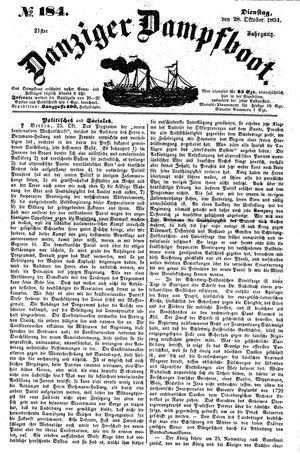 Danziger Dampfboot für Geist, Humor, Satire, Poesie, Welt- und Volksleben, Korrespondenz, Kunst, Literatur und Theater vom 28.10.1851