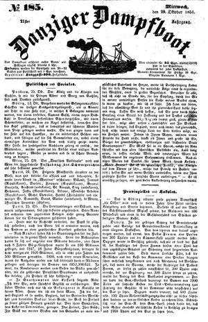 Danziger Dampfboot für Geist, Humor, Satire, Poesie, Welt- und Volksleben, Korrespondenz, Kunst, Literatur und Theater vom 29.10.1851