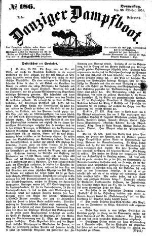 Danziger Dampfboot für Geist, Humor, Satire, Poesie, Welt- und Volksleben, Korrespondenz, Kunst, Literatur und Theater vom 30.10.1851