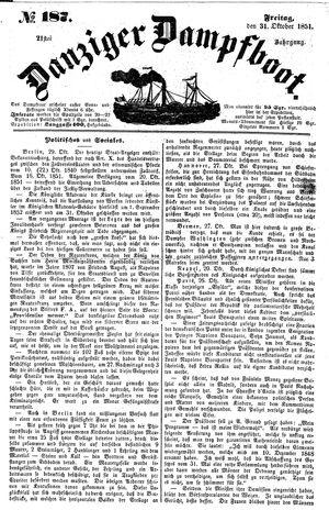 Danziger Dampfboot für Geist, Humor, Satire, Poesie, Welt- und Volksleben, Korrespondenz, Kunst, Literatur und Theater vom 31.10.1851