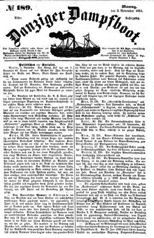 Danziger Dampfboot für Geist, Humor, Satire, Poesie, Welt- und Volksleben, Korrespondenz, Kunst, Literatur und Theater vom 03.11.1851