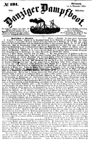 Danziger Dampfboot für Geist, Humor, Satire, Poesie, Welt- und Volksleben, Korrespondenz, Kunst, Literatur und Theater vom 05.11.1851