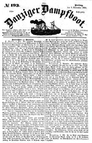 Danziger Dampfboot für Geist, Humor, Satire, Poesie, Welt- und Volksleben, Korrespondenz, Kunst, Literatur und Theater vom 07.11.1851