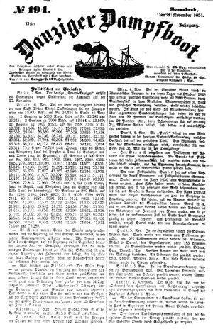 Danziger Dampfboot für Geist, Humor, Satire, Poesie, Welt- und Volksleben, Korrespondenz, Kunst, Literatur und Theater vom 08.11.1851