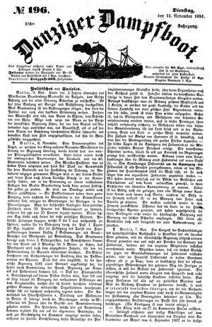Danziger Dampfboot für Geist, Humor, Satire, Poesie, Welt- und Volksleben, Korrespondenz, Kunst, Literatur und Theater vom 11.11.1851