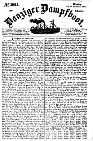 Danziger Dampfboot für Geist, Humor, Satire, Poesie, Welt- und Volksleben, Korrespondenz, Kunst, Literatur und Theater vom 17.11.1851