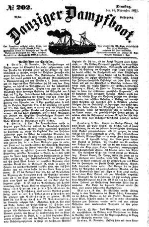 Danziger Dampfboot für Geist, Humor, Satire, Poesie, Welt- und Volksleben, Korrespondenz, Kunst, Literatur und Theater vom 18.11.1851