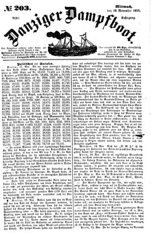 Danziger Dampfboot für Geist, Humor, Satire, Poesie, Welt- und Volksleben, Korrespondenz, Kunst, Literatur und Theater vom 19.11.1851