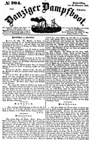 Danziger Dampfboot für Geist, Humor, Satire, Poesie, Welt- und Volksleben, Korrespondenz, Kunst, Literatur und Theater on Nov 20, 1851