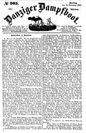 Danziger Dampfboot für Geist, Humor, Satire, Poesie, Welt- und Volksleben, Korrespondenz, Kunst, Literatur und Theater vom 21.11.1851