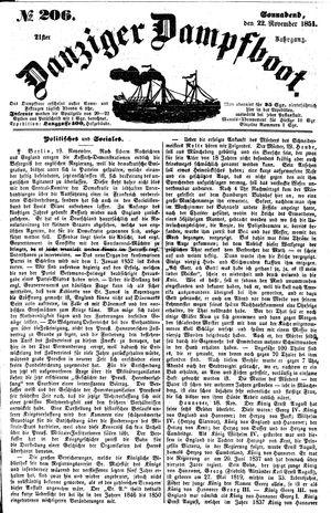 Danziger Dampfboot für Geist, Humor, Satire, Poesie, Welt- und Volksleben, Korrespondenz, Kunst, Literatur und Theater vom 22.11.1851