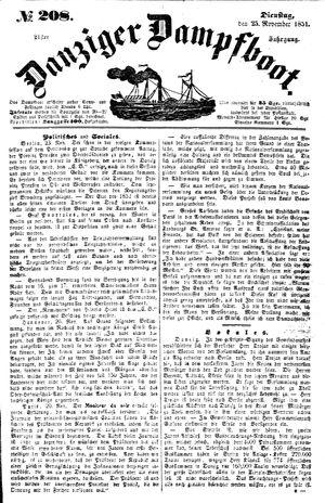 Danziger Dampfboot für Geist, Humor, Satire, Poesie, Welt- und Volksleben, Korrespondenz, Kunst, Literatur und Theater vom 25.11.1851