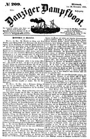 Danziger Dampfboot für Geist, Humor, Satire, Poesie, Welt- und Volksleben, Korrespondenz, Kunst, Literatur und Theater vom 26.11.1851