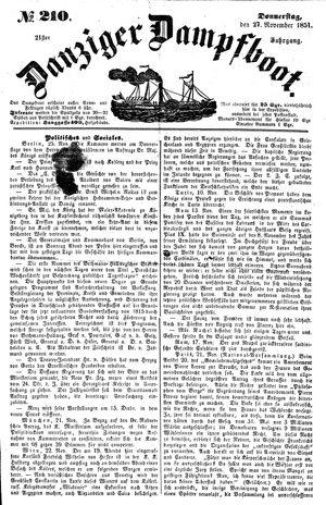 Danziger Dampfboot für Geist, Humor, Satire, Poesie, Welt- und Volksleben, Korrespondenz, Kunst, Literatur und Theater vom 27.11.1851