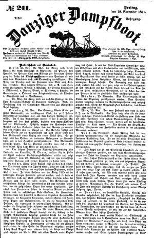 Danziger Dampfboot für Geist, Humor, Satire, Poesie, Welt- und Volksleben, Korrespondenz, Kunst, Literatur und Theater on Nov 28, 1851