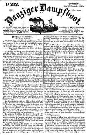 Danziger Dampfboot für Geist, Humor, Satire, Poesie, Welt- und Volksleben, Korrespondenz, Kunst, Literatur und Theater vom 29.11.1851