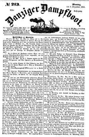 Danziger Dampfboot für Geist, Humor, Satire, Poesie, Welt- und Volksleben, Korrespondenz, Kunst, Literatur und Theater on Dec 1, 1851
