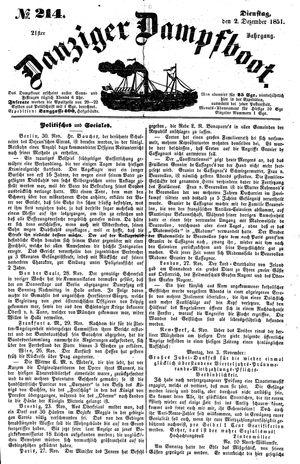 Danziger Dampfboot für Geist, Humor, Satire, Poesie, Welt- und Volksleben, Korrespondenz, Kunst, Literatur und Theater vom 02.12.1851