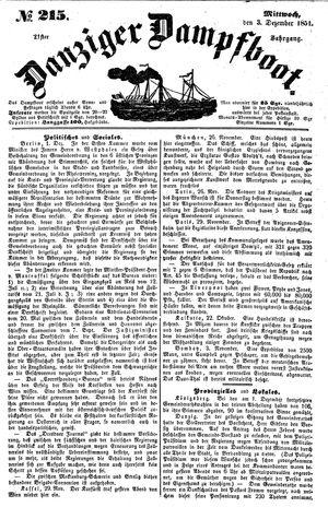 Danziger Dampfboot für Geist, Humor, Satire, Poesie, Welt- und Volksleben, Korrespondenz, Kunst, Literatur und Theater vom 03.12.1851