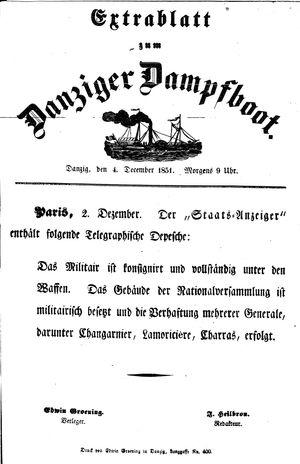 Danziger Dampfboot für Geist, Humor, Satire, Poesie, Welt- und Volksleben, Korrespondenz, Kunst, Literatur und Theater vom 04.12.1851