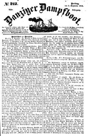 Danziger Dampfboot für Geist, Humor, Satire, Poesie, Welt- und Volksleben, Korrespondenz, Kunst, Literatur und Theater vom 05.12.1851