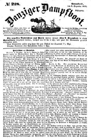 Danziger Dampfboot für Geist, Humor, Satire, Poesie, Welt- und Volksleben, Korrespondenz, Kunst, Literatur und Theater vom 06.12.1851
