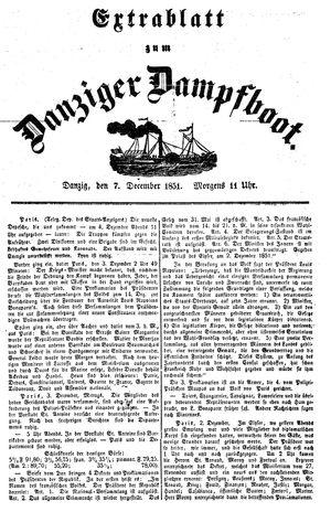 Danziger Dampfboot für Geist, Humor, Satire, Poesie, Welt- und Volksleben, Korrespondenz, Kunst, Literatur und Theater vom 07.12.1851