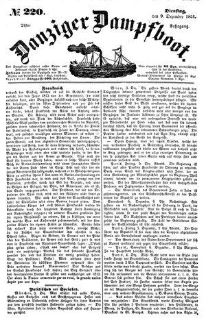 Danziger Dampfboot für Geist, Humor, Satire, Poesie, Welt- und Volksleben, Korrespondenz, Kunst, Literatur und Theater vom 09.12.1851