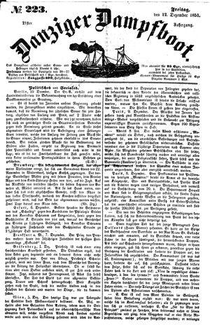 Danziger Dampfboot für Geist, Humor, Satire, Poesie, Welt- und Volksleben, Korrespondenz, Kunst, Literatur und Theater vom 12.12.1851