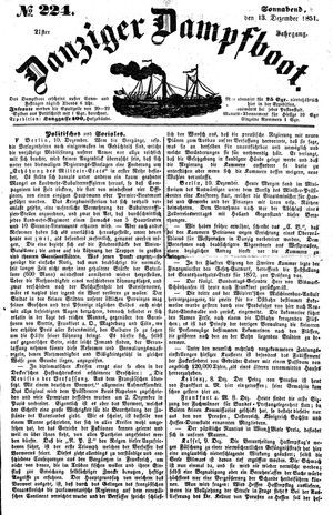 Danziger Dampfboot für Geist, Humor, Satire, Poesie, Welt- und Volksleben, Korrespondenz, Kunst, Literatur und Theater vom 13.12.1851