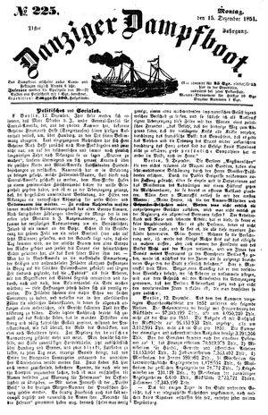 Danziger Dampfboot für Geist, Humor, Satire, Poesie, Welt- und Volksleben, Korrespondenz, Kunst, Literatur und Theater vom 15.12.1851