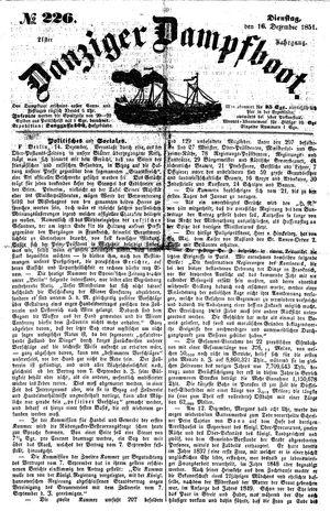 Danziger Dampfboot für Geist, Humor, Satire, Poesie, Welt- und Volksleben, Korrespondenz, Kunst, Literatur und Theater vom 16.12.1851