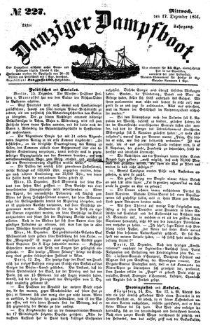 Danziger Dampfboot für Geist, Humor, Satire, Poesie, Welt- und Volksleben, Korrespondenz, Kunst, Literatur und Theater vom 17.12.1851