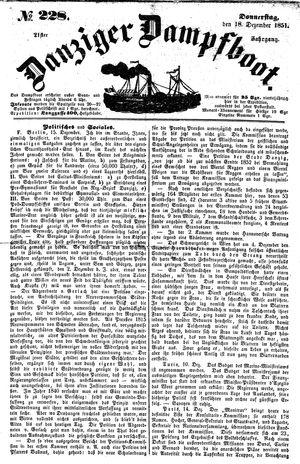 Danziger Dampfboot für Geist, Humor, Satire, Poesie, Welt- und Volksleben, Korrespondenz, Kunst, Literatur und Theater vom 18.12.1851