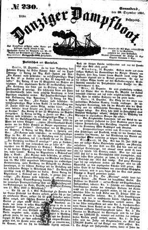Danziger Dampfboot für Geist, Humor, Satire, Poesie, Welt- und Volksleben, Korrespondenz, Kunst, Literatur und Theater vom 20.12.1851