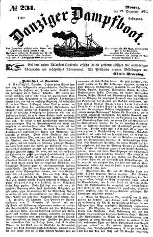 Danziger Dampfboot für Geist, Humor, Satire, Poesie, Welt- und Volksleben, Korrespondenz, Kunst, Literatur und Theater vom 22.12.1851