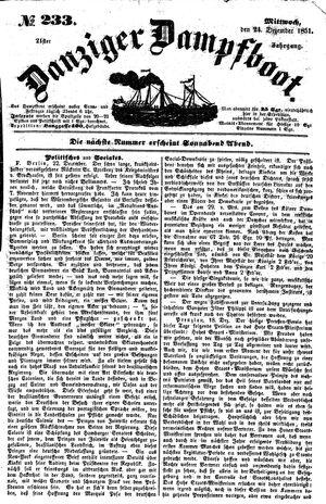 Danziger Dampfboot für Geist, Humor, Satire, Poesie, Welt- und Volksleben, Korrespondenz, Kunst, Literatur und Theater vom 24.12.1851