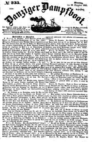 Danziger Dampfboot für Geist, Humor, Satire, Poesie, Welt- und Volksleben, Korrespondenz, Kunst, Literatur und Theater vom 29.12.1851
