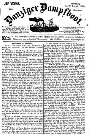 Danziger Dampfboot für Geist, Humor, Satire, Poesie, Welt- und Volksleben, Korrespondenz, Kunst, Literatur und Theater vom 30.12.1851