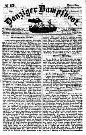 Danziger Dampfboot für Geist, Humor, Satire, Poesie, Welt- und Volksleben, Korrespondenz, Kunst, Literatur und Theater vom 15.01.1852