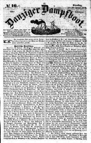 Danziger Dampfboot für Geist, Humor, Satire, Poesie, Welt- und Volksleben, Korrespondenz, Kunst, Literatur und Theater vom 20.01.1852