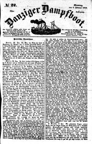 Danziger Dampfboot für Geist, Humor, Satire, Poesie, Welt- und Volksleben, Korrespondenz, Kunst, Literatur und Theater vom 02.02.1852