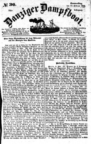 Danziger Dampfboot für Geist, Humor, Satire, Poesie, Welt- und Volksleben, Korrespondenz, Kunst, Literatur und Theater on Feb 12, 1852