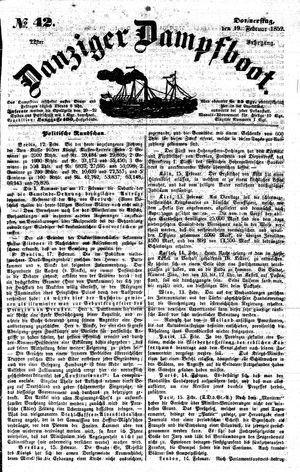 Danziger Dampfboot für Geist, Humor, Satire, Poesie, Welt- und Volksleben, Korrespondenz, Kunst, Literatur und Theater vom 19.02.1852