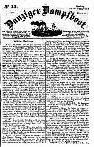 Danziger Dampfboot für Geist, Humor, Satire, Poesie, Welt- und Volksleben, Korrespondenz, Kunst, Literatur und Theater on Feb 20, 1852