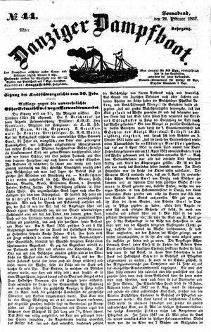 Danziger Dampfboot für Geist, Humor, Satire, Poesie, Welt- und Volksleben, Korrespondenz, Kunst, Literatur und Theater vom 21.02.1852