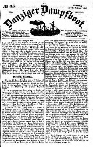 Danziger Dampfboot für Geist, Humor, Satire, Poesie, Welt- und Volksleben, Korrespondenz, Kunst, Literatur und Theater vom 23.02.1852